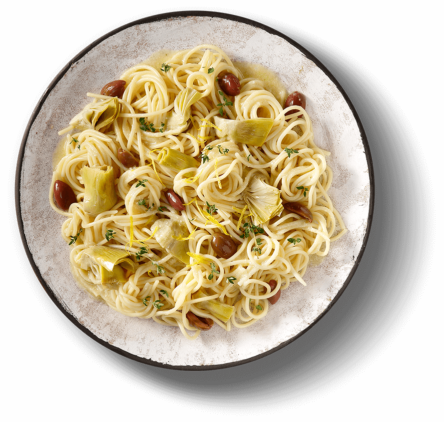 Main Plate of LEMON SCENTED SPAGHETTONI WITH ARTICHOKE HEARTS & OLIVES