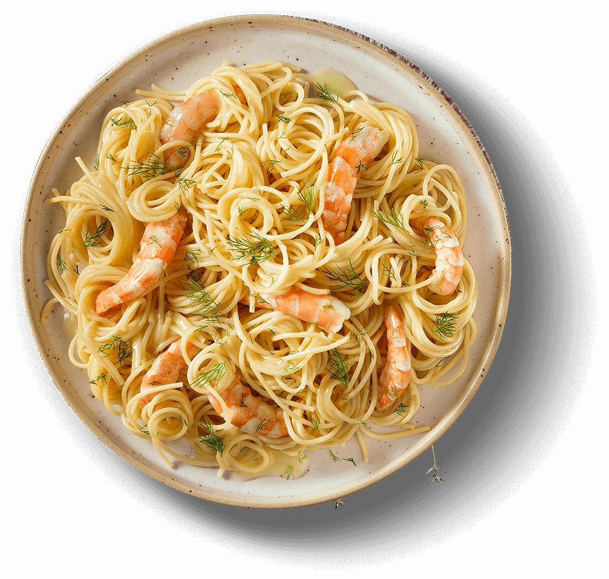 Main Plate of SPAGHETTI WITH SHRIMPS, GARLIC & FENNEL