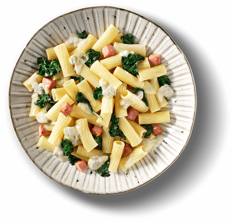 Main Plate of RIGATONI WITH SPINACH, BACON & GORGONZOLA